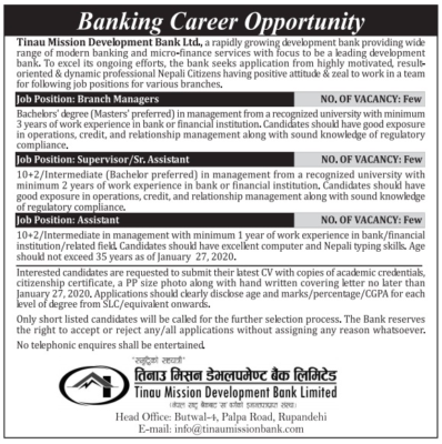 Job Vacancy In Banks for Various Positions
